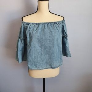 Madewell Azalea Off the Shoulder Chambray Blouse M